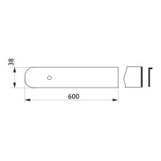 Заглушка столешницы торцевая левая U-закругленная GIFF 38х600 алюминий