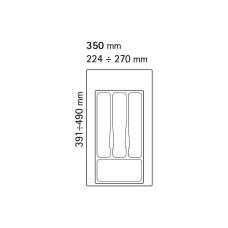 Лоток для столовых приборов Volpato 270х490 серый