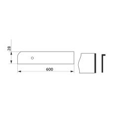 Заглушка столешницы торцевая левая L-закругленная GIFF 28х600 алюминий
