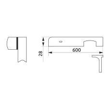 Стыковка столешницы угловая L-закругленная GIFF 28х600 алюминий