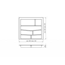 Лоток для столовых приборов 32/76 Volpato 540х490 серый GR