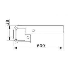 Стыковка столешницы прямая U-закругленная GIFF 38х600 алюминий