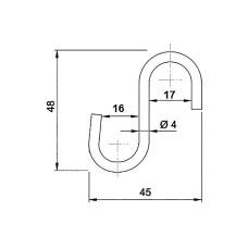 Крючок трубы-рейлинга d=16 GIFF хром