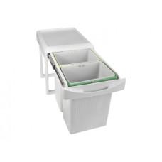 Ведро 2х7,5 л выдвижное для мусора INOXA серый