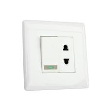 Выключатель мебельный врезной с розеткой GIFF 10A 250V белый