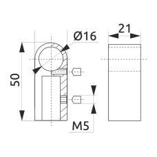 Крепление трубы-рейлинга d=16 GIFF Модерн хром