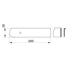 Заглушка столешницы торцевая правая U-закругленная GIFF 28х600 алюминий