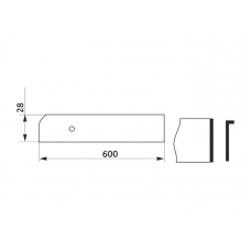 Заглушка столешницы торцевая правая L-закругленная GIFF 28х600 алюминий