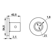 R-11M Крепление трубы d=25 высокое (алюминий) GIFF фланец хром