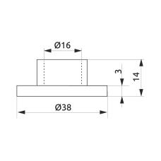 Крепление трубы-рейлинга d=16 GIFF Фланец хром