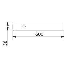 Заглушка столешницы торцевая левая U-закругленная GIFF 38х600 R-3 алюминий