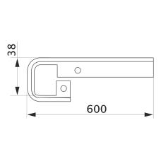 Стыковка столешницы прямая U-закругленная GIFF 38х600 R3 алюминий