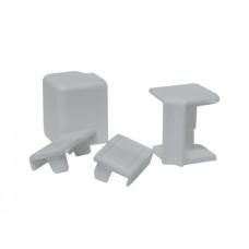 Комплект к плинтусу VOLPATO серый (2 заглушки, 1внешн.+1внутр. угол) L=4200 16х26мм